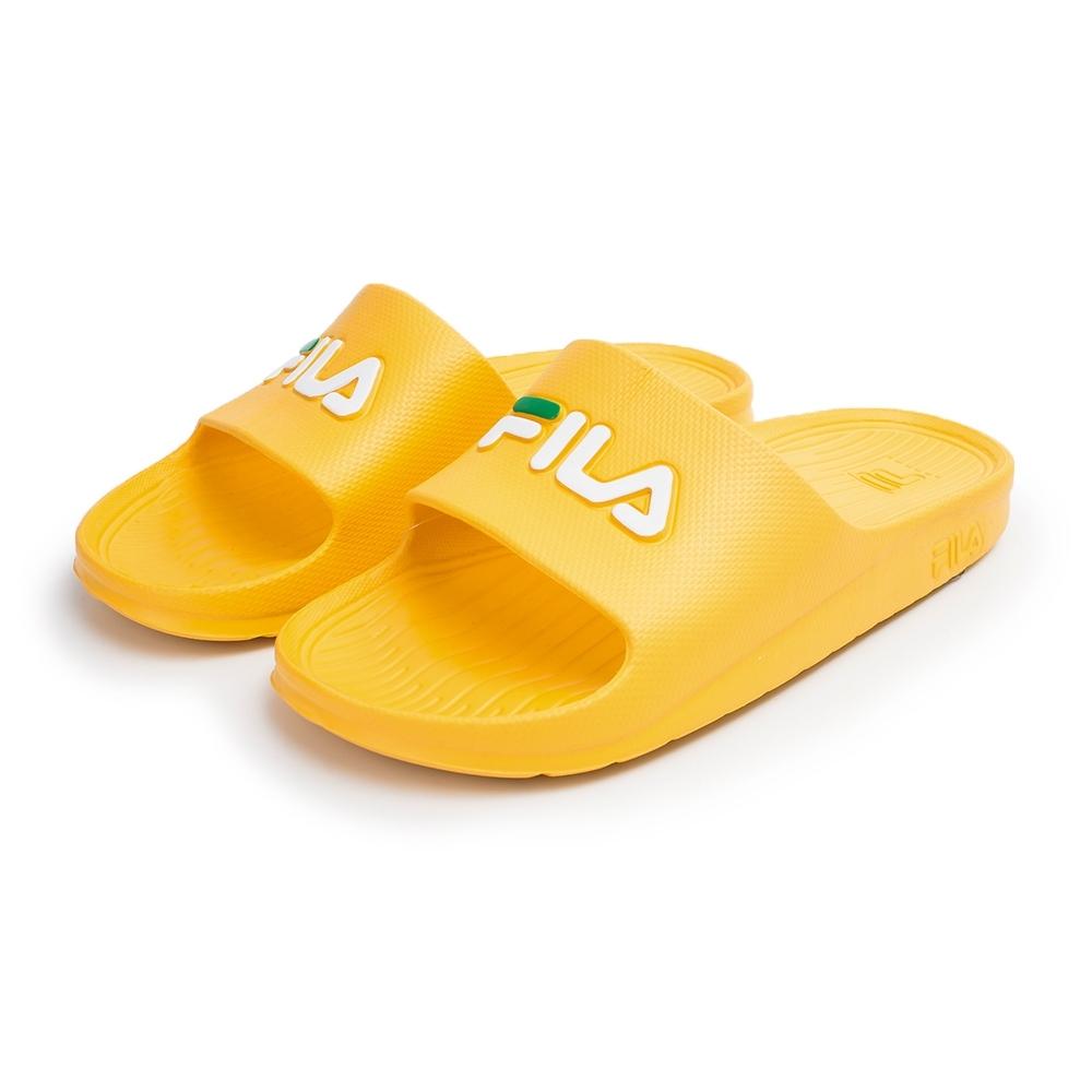 【FILA】經典防水一片式拖鞋 男女款 情侶鞋-黃(4-S355V-991)