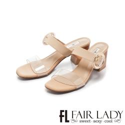 FAIR LADY Early Summer透明一字圓釦撞色粗跟涼拖鞋 卡其