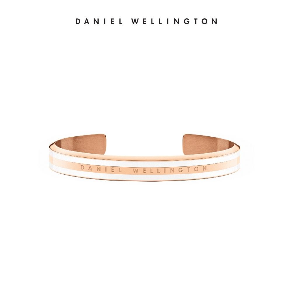 【Daniel Wellington】官方直營 Classic Slim Bracelet 時尚奢華手環-玫瑰金x白-S DW手環
