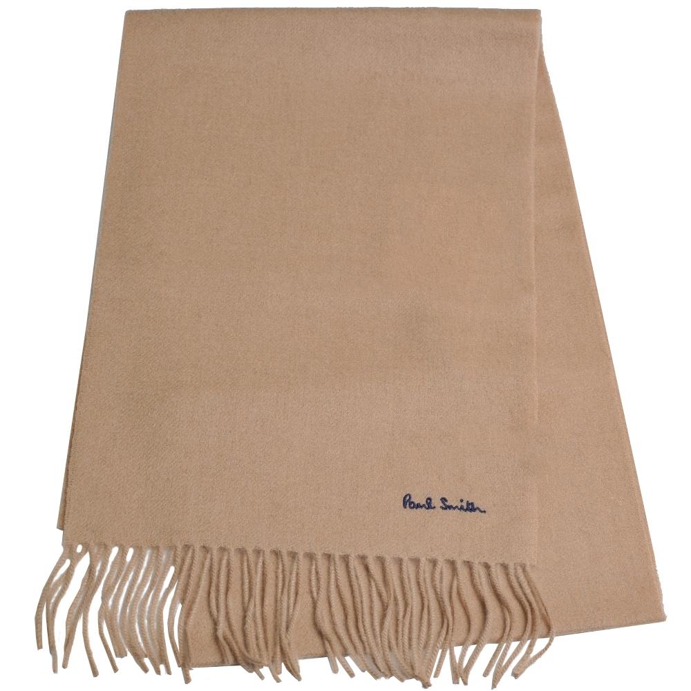 Paul Smith 英國製字母刺繡LOGO100%羊毛造型圍巾(駝色)