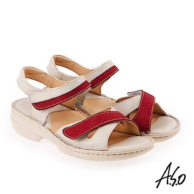 A.S.O 手縫氣墊 全真皮寬楦魔鬼氈休閒氣墊涼鞋 米