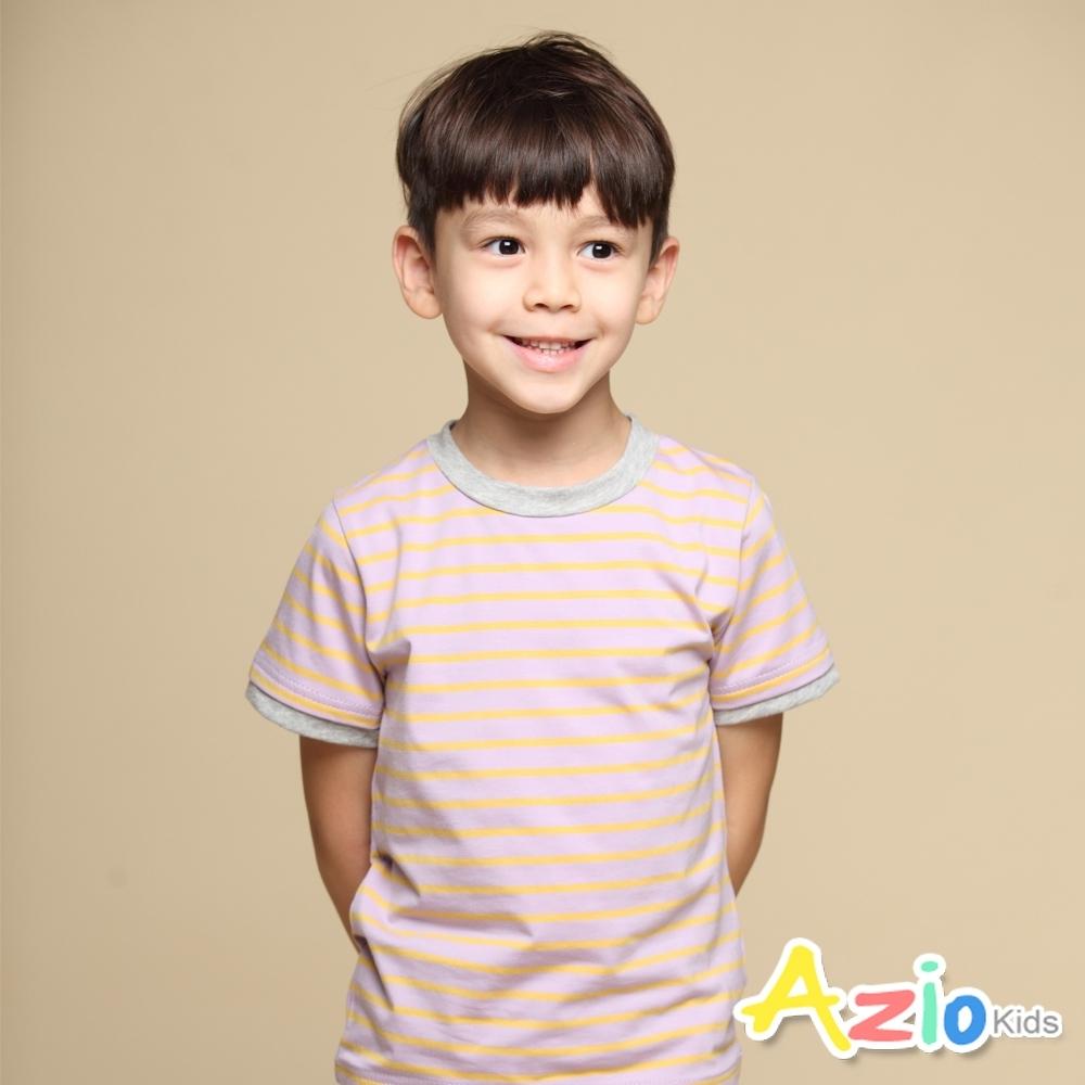 Azio Kids 上衣 領口配色假兩件橫條紋短袖上衣T恤(淺紫)
