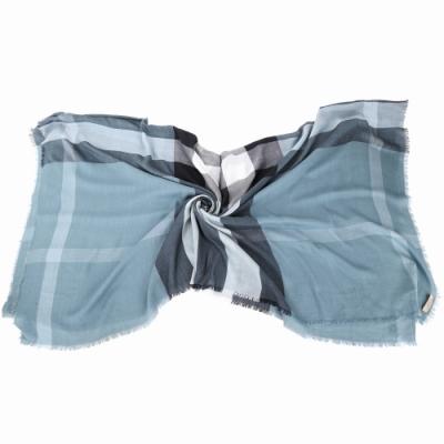 BURBERRY 展示品 勾紗 灰藍色莫代爾羊毛絲綢大格紋披肩