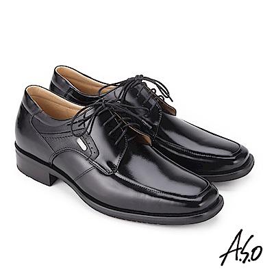 A.S.O 菁英通勤 綁帶鏡面牛皮奈米紳士鞋 黑
