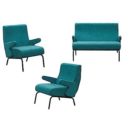 文創集 波賽特時尚絲絨布沙發椅組合(1+1+2人座)