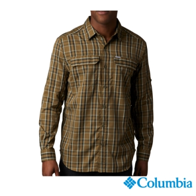 Columbia 哥倫比亞男款-防曬50快排短袖襯衫-褐綠 UAE06490