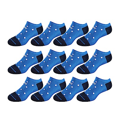 SNUG健康除臭襪 奈米消臭時尚船襪12入組(藍白點)