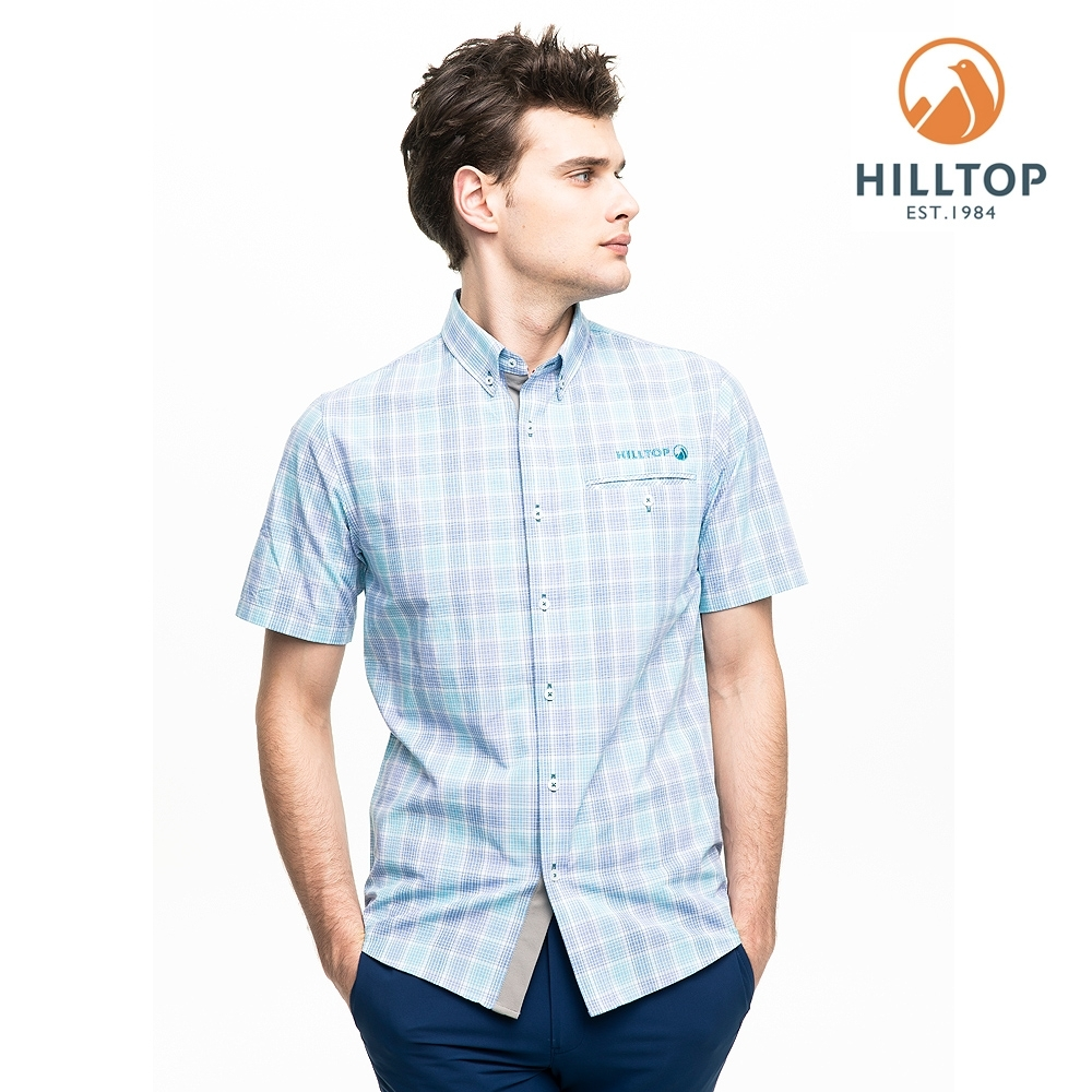 【hilltop山頂鳥】男款吸濕快乾抗UV短袖襯衫PS06XM66ECEY淺藍紫格紋