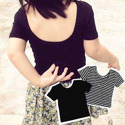 小衣衫童裝  極簡時尚歐美風露背T恤1050704