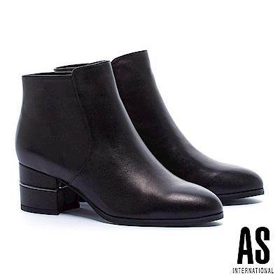 短靴 AS 極簡率性金屬線條設計羊皮高跟短靴-黑