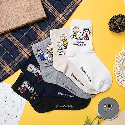 阿華有事嗎 韓國襪子 表白英文史努比中筒襪 韓妞必備長襪 正韓百搭純棉襪