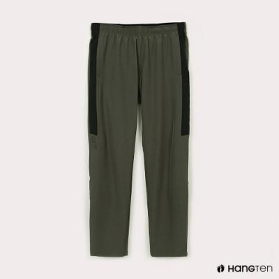 Hang Ten-男裝-恆溫多功能-REGULAR FIT標準四向彈力吸濕快乾抗曬撞色運動長褲-軍綠色