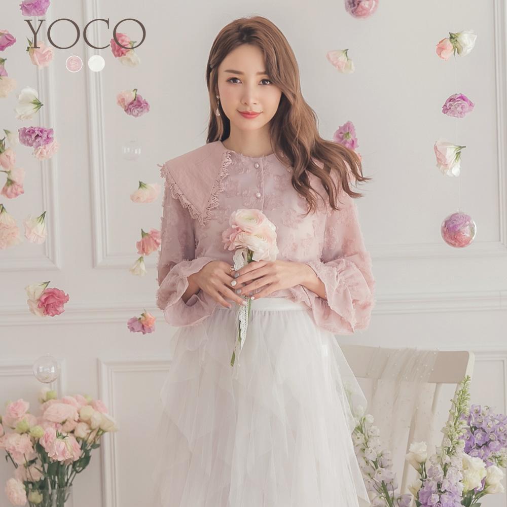 東京著衣-YOCO 細膩質感大領滾邊蕾絲抽鬚設計上衣-S.M.L(共兩色)