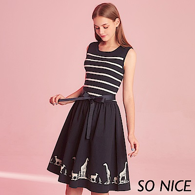 SO NICE俏麗條紋動物印花拼接洋裝