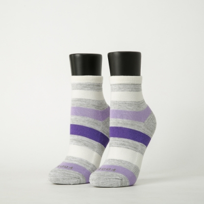 Footer除臭襪-條紋甜心運動氣墊襪-六雙入(粉紅*2+淺藍*2+灰紫*2)