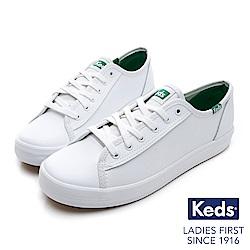 Keds KICKSTART 韓國同步皮革綁帶休閒鞋-白/綠