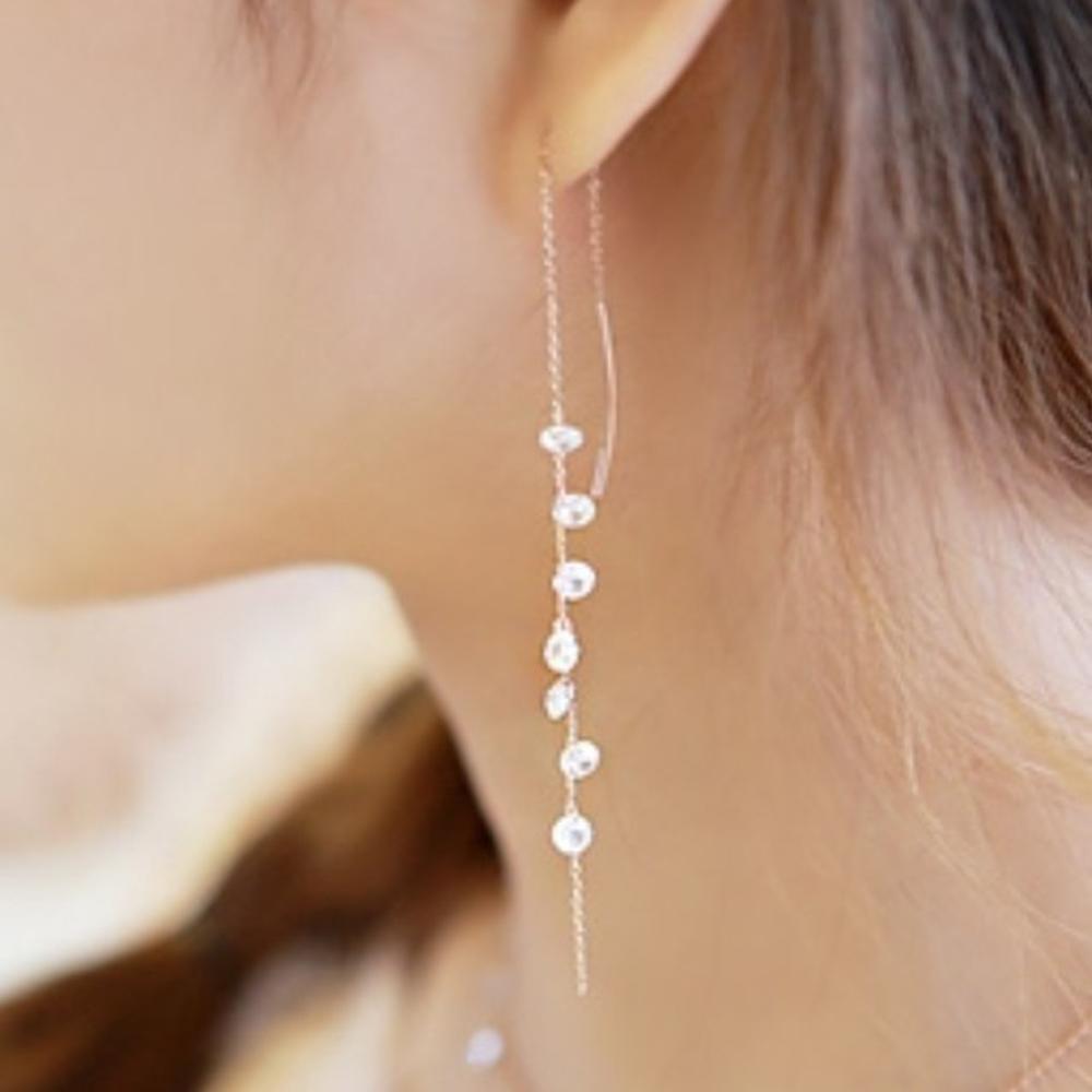 梨花HaNA 韓國925銀水晶串飾之淚光耳環