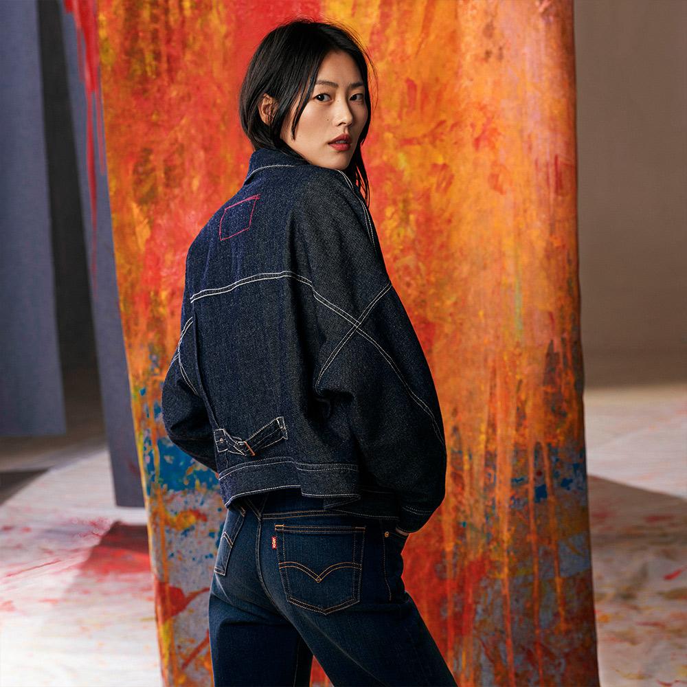Levis Red 工裝手稿風復刻再造 女款 短版雙面穿鋪棉牛仔外套 Oversize寬鬆版型 原色