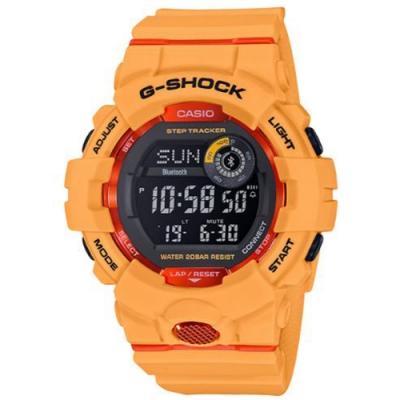 G-SHOCK百搭玩色風格運動計步藍芽錶(GBD-800-4)黃x橘紅/54.1mm