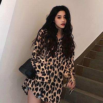 DABI 韓系時尚豹紋寬鬆遮臀襯衫長袖上衣