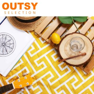 OUTSY 巨大普普風加厚防水鋪棉野餐墊/沙灘墊-蜂蜜檸檬 (隧道帳適用)