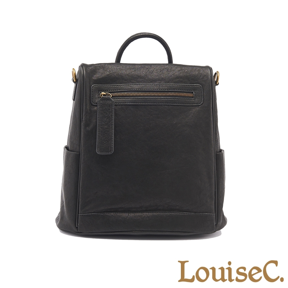 【LouiseC.】植鞣革牛皮背後開口後背包(大尺寸)-黑色 (WI91105-05)
