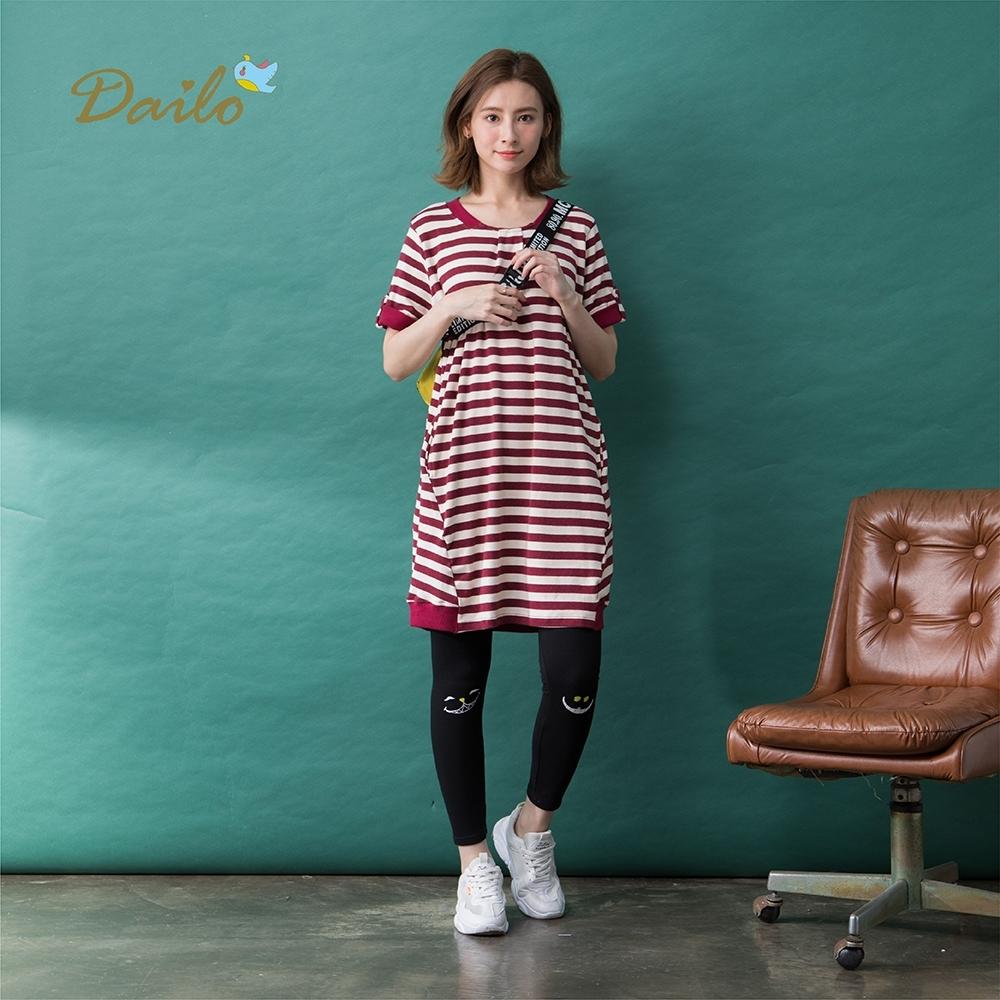【Dailo】條紋單釦造型短袖-洋裝(三色/版型適中)