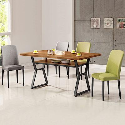 Homelike 德爾工業風4尺餐桌椅組(一桌四椅)-120x80x82cm