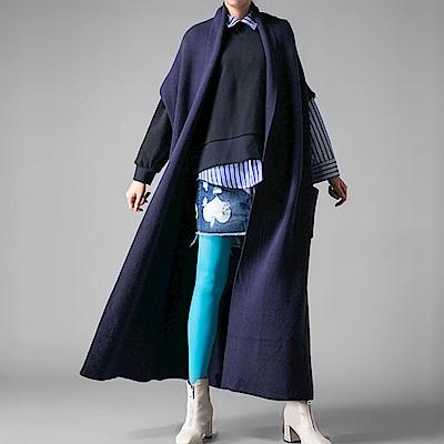 修飾繭型彈力針織長版外套-(共三色)Andstyle