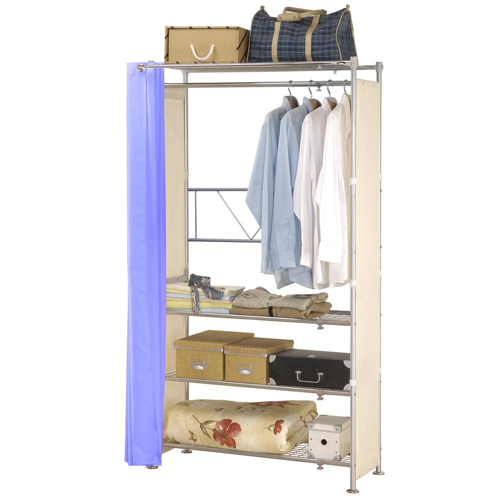 巴塞隆納─AG-04四層層板伸縮衣櫥V型設計強化結構