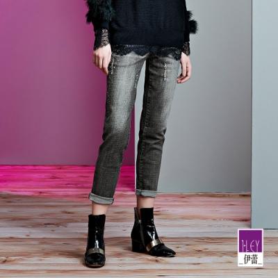 ILEY伊蕾 彈性燙鑽刷色窄管牛仔褲(灰)