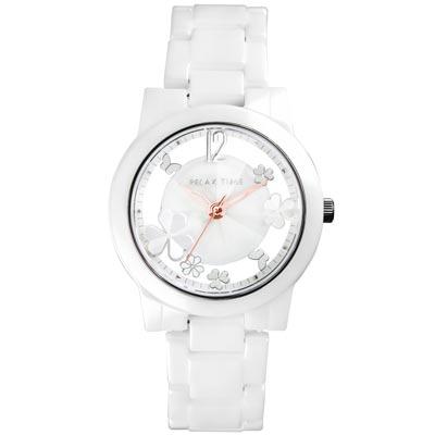 RELAX TIME Garden系列 鏤空陶瓷腕錶 RT-80-1 白X銀/38mm