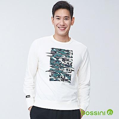 bossini男裝-圓領長袖運動衫04乳白