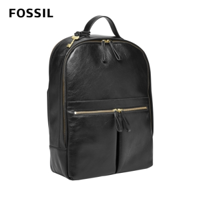 FOSSIL Tess 真皮後背包-黑色 ZB1325001 (可插入行李箱拉桿,15吋筆電保護夾層)