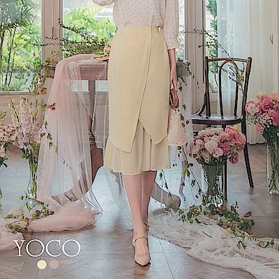 東京著衣-YOCO 優雅浪漫不對稱剪裁雪紡魚尾中長裙-S.M.L(共兩色)