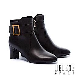 短靴 HELENE SPARK 都市率性金屬方釦全真皮粗高跟短靴-黑