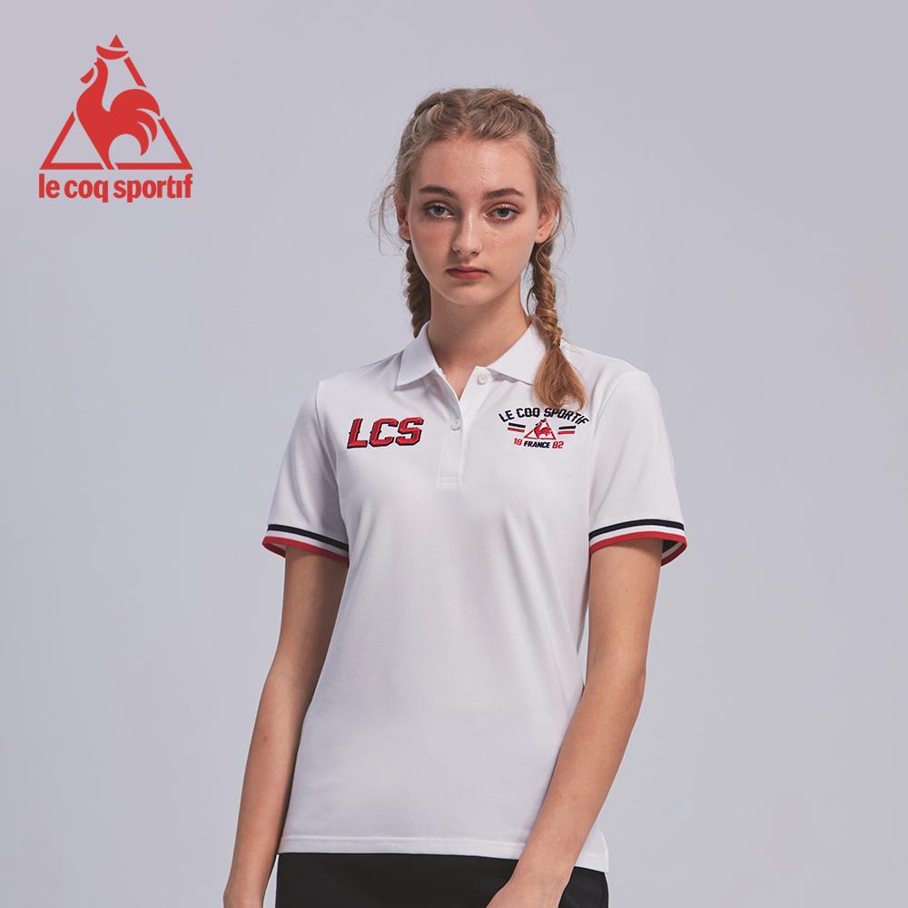 le coq sportif 法國公雞牌吸濕排汗立體繡花短袖POLO衫 女-白