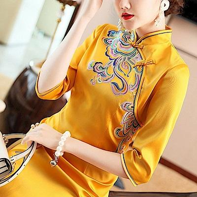 中式復古改良式旗袍洋裝M-2XL(共兩色)-糖潮