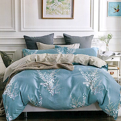 Grace Life 雅致怡人-藍 台灣精製 雙人精梳純棉床包三件組~床圍高度35公分