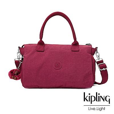 Kipling莓紫素面手提側背包(大)