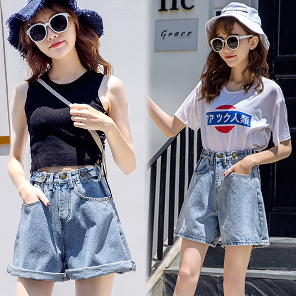 【韓國K.W.】時尚休閒年輕夏日清涼牛仔短褲