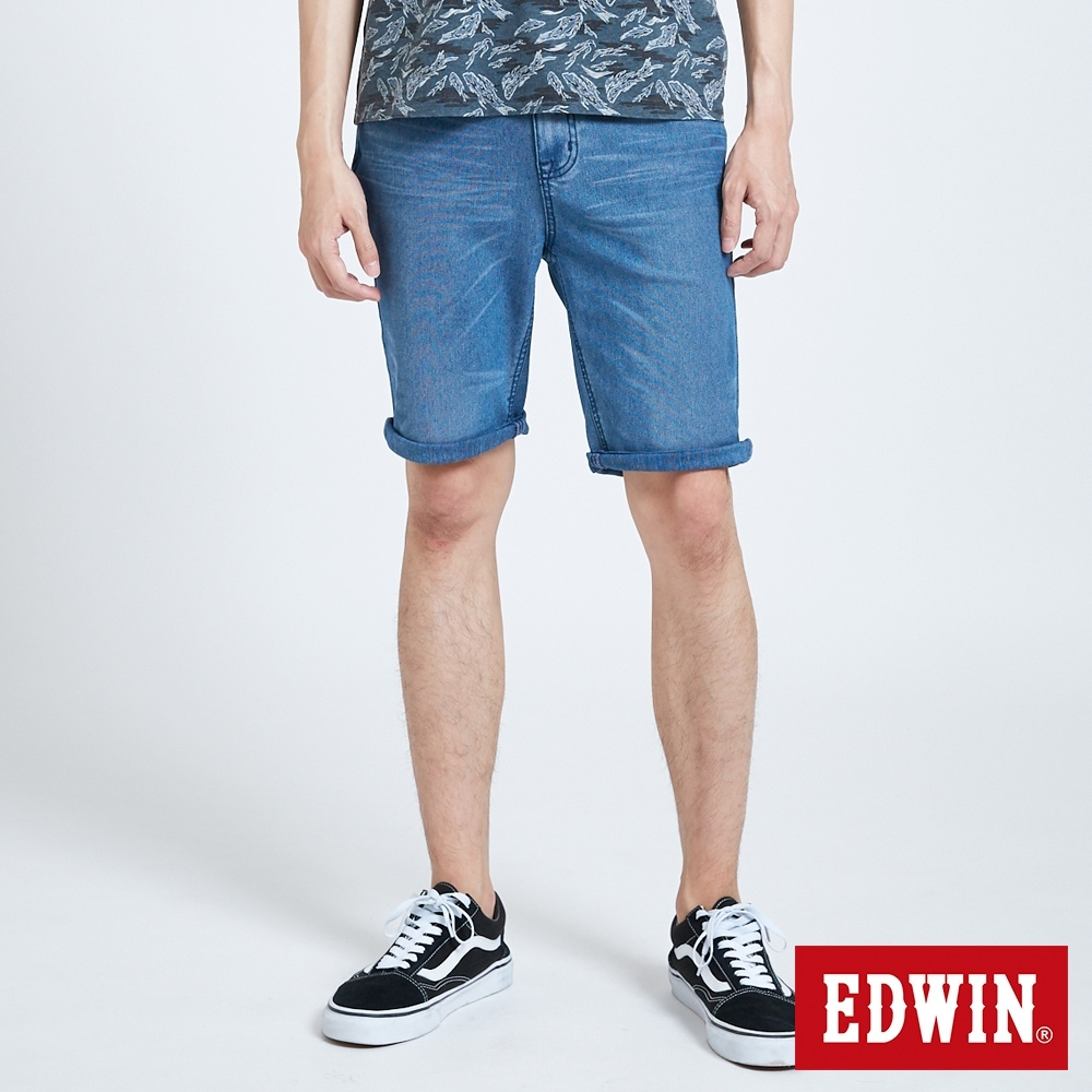 EDWIN JERSEYS 迦績 PK EJ2透氣中腰合身 牛仔短褲-男-拔洗藍