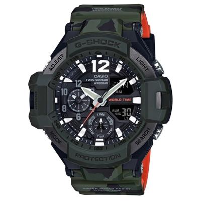 G-SHOCK帥氣軍事迷彩風格第二時區飛行腕錶(GA-1100SC-3A)52.1mm
