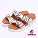 【WONDERS】- 西班牙進口 真皮亮面押紋厚底拖鞋 -金色