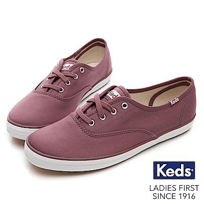 Keds CHAMPION 霧感經典綁帶休閒鞋-紫紅
