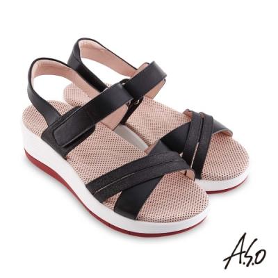 A.S.O 機能休閒 輕穩健康鞋金箔皮料條帶休閒涼鞋-黑