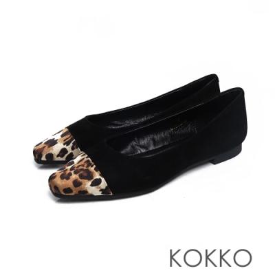 KOKKO - 似水流年拼接方頭平底鞋 - 經典黑