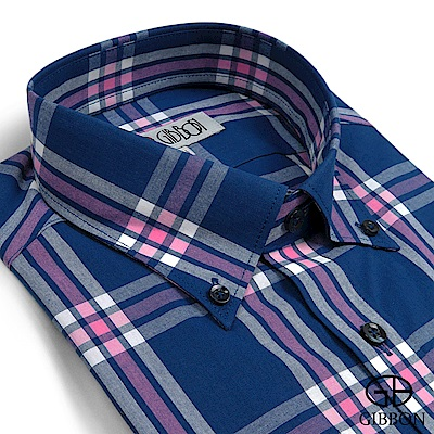 GIBBON 時尚大格紋休閒襯衫‧藍粉格