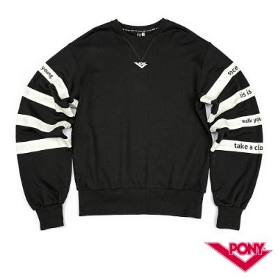 【PONY】長袖100%純棉 T恤 情侶款  男女款 黑