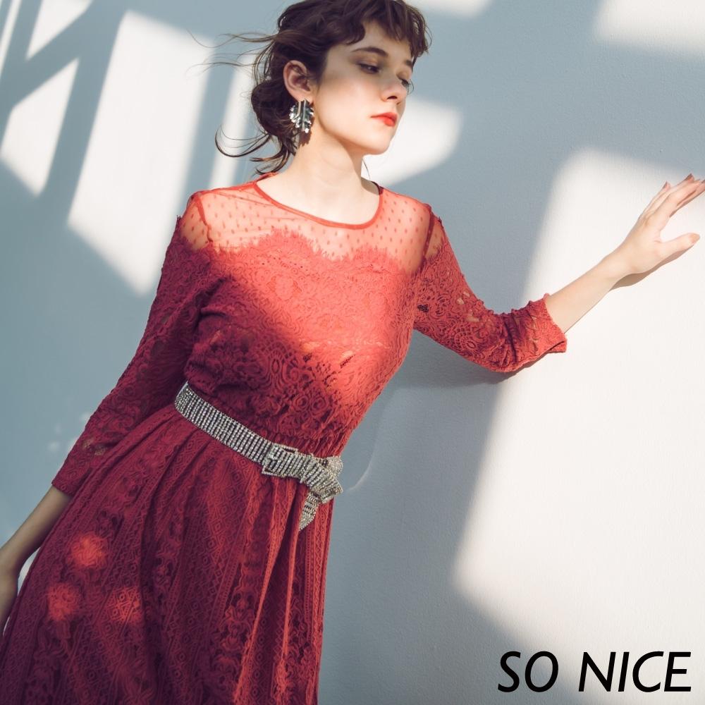 SO NICE浪漫透視水溶蕾絲長洋裝